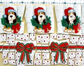 Basset Hounds as darling Christmas Dogs - broken China Mosaic Tiles