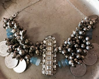 Tribal Fusion necklace Doctor Dress 1930s rhinestone focal