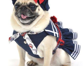 Dog Harness, Dog Dress - Blue and White