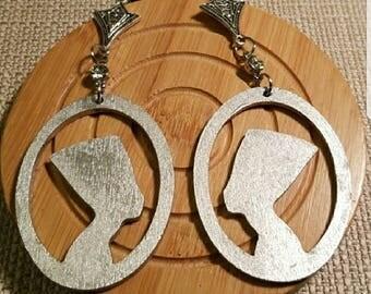 Queen Nefertiti Silver Wood earrings