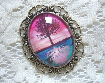 Pink And Teal Reflections Tree Of Life Pendant Free Shipping in USA
