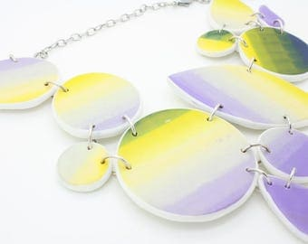 Lemon yellow and lavender large, one of a kind, statement necklace, handmade