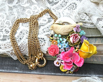 loaded summer flower collage necklace assemblage bird upcycled vintage jewelry pins romantic feminine cottage chic
