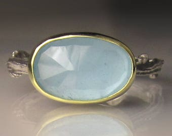 Natural Aquamarine Ring, Rose Cut Aquamarine Twig Ring, 18k Gold and Sterling Silver