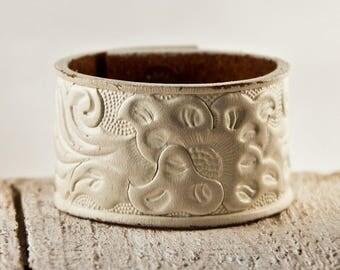 White Cuff Bracelet, White Leather Jewelry, White Wristband, White Wrist Cuffs For Women