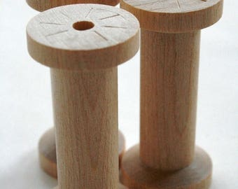 25% Off Summer Sale Large Wooden Spools - set of 2 - Natural Wood Thread Spools