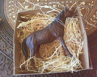 New 3D Paper Dresden Ornament Brown Horse W Black Mane & Tail