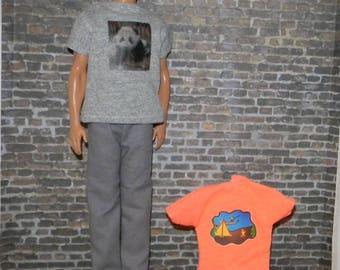 K3PC-43) Ken doll clothes, 2 printed t-shirts and 1 pants