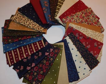 NEW Liberty Hill Quilt Fabric 100% Cotton Americana 24 Coordinating Fat Quarters - The Full Line