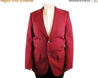 ON SALE Mens Vintage Blazer 38R 70s Dark Burgundy Red Jacket Coat Herringbone Texture Free Us Shipping