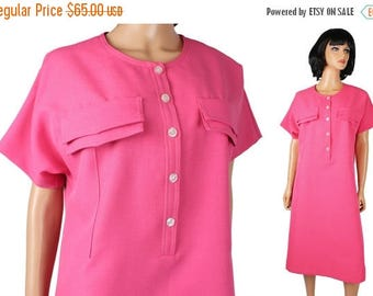 ON SALE 80s Secretary Dress XL Vintage Hot Pink Legally Blonde Costume Rich Miss Cute Free Us Shipping