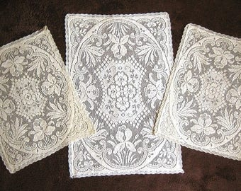 Vintage Runner Tablecloth Doily Crochet Needle Lace Victorian Ivory White Flowers Set 3