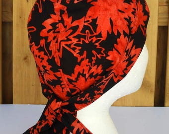 Bikers Skull Cap, Bandana, Do Rag, Batik, Black with Red Canada Maple Leaf Leaves