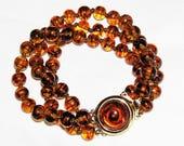 Amber and Black Glass Vintage Bracelet