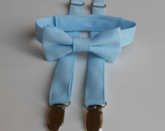 SALE Baby Blue Bowtie and Suspenders Set - Infant, Toddler, Boy                 2 weeks before shipping
