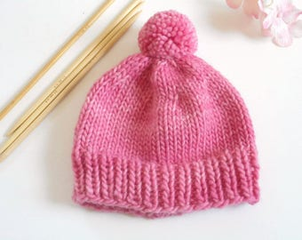Hand Knit Newborn Hat/Knit Hat Girl/New Baby Beanie/Pink Knit Baby Hat/Baby Beanie/Knitted Newborn Hat/Baby Shower Gift/New Baby Girl knit
