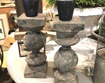 Antique Painted Wood Turned Pillar