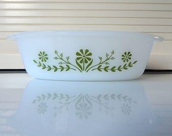 Vintage Glasbake, Oval Green Daisy 1 Quart Baking Dish or Casserole