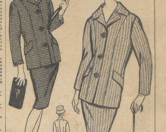 """Vintage woman magazine supplement suit pattern """"women of today ' hui"""" March 10, 1960."""