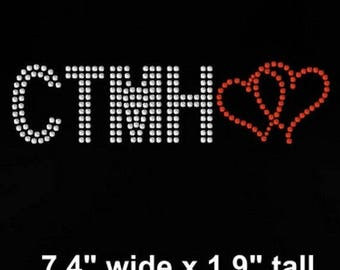 "SALE 7.4"" OR 9.5"" wide CTMH iron on rhinestone transfer"