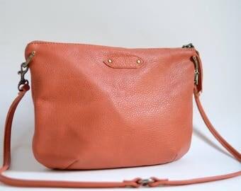 Nana mini leather dart bag: Pebbled orange