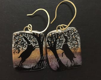 Dairy Goat Jewelry: Lamancha Silhouettes. Original India Ink Drawing on Polymer Clay. Gold, Black, Lavender Grey, White 4363
