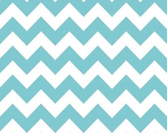 On Sale Chevron - Aqua and White - 10x10 Sweet Bobbins Wet Bag - SEAM SEALED - Snap Strap