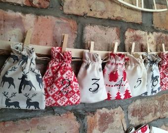 Christmas Advent Calendar - Red Grey & Cream Rustic Scandi Nordic Style - 24 MINI BAGS Garland