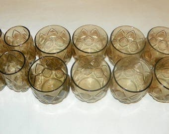 Rolly Polly Brown Puffed Diamond Rock and Juice Glasses, Set of 12, 8 Rolly Polly and 4 Juice Glasses Tawney Brown Embossed Glasses