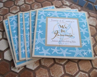 Private Listing for idojennypenny7 CD Insert - Aqua Blue Starfish Wedding CD Insert Cover Cards - We Be Jammin