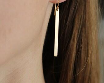 Gold Bar Earrings, Minimalist Earrings, Sterling Silver Bar Earrings, Simple Earrings, Dainty Earrings, Sleek Bars, Long Bar Earrings
