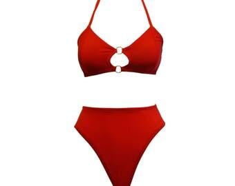 Bobby high waist high cut 80's swimsuit bikini bottom -  baywatch black red - by Kayleigh Peddie