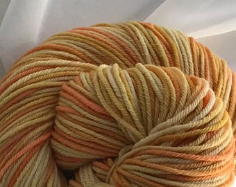 """4oz Hand Dyed Rare Rambouillet Yarn 300 yds DK weight """"Candy Corn"""""""