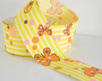 Vintage Mod Butterfly Ribbon 50 Yards Old Stock