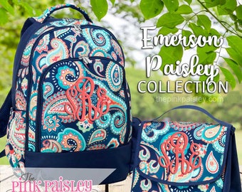 Monogrammed Backpack and Lunch Box | Personalized Backpack | Girls School BookBag | Back To School | Emerson Paisley
