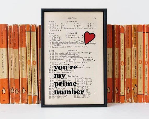 Anniversary Gift Prime Number Book Page Print Geeky Gift