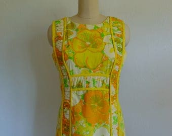 60s Lilly Pulitzer mod FLORAL print MAXI dress size medium