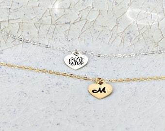 Custom heart monogram necklace • Small tiffany heart name necklace • Sterling Silver or Gold-filled • Personalized monogram name necklace