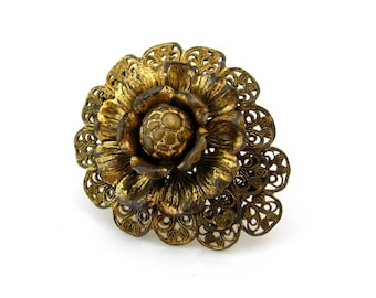 1930s Metal Work Flower Dress Clip | Brass-tone Filigree Floral Brooch | Vintage 30s Jewelry