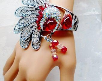 Vintage Peacock AB Crystal Rhinestones Encrusted Red Retro Art Deco Cuff Clapper Bangle Bracelet Jeweled Bird Runway Statement