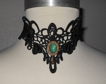 Choker in Black High Neck Scroll Loop Cameo Cab Venise Collar Neckwear by Medievaltomodern Runway Wearable Art Romantic Evening Wear
