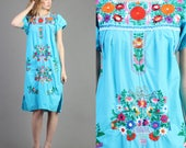 vintage 70s BLUE + EMBROIDERED mexican OAXACAN dress size / trapeze hippie boho sun festival dress 1970s