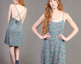 vintage BACKLESS + STRAPPY floral grunge babydoll festival sun mini tank dress 90s 1990s