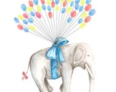 RESERVED for Lauren ONLY, X Small Fingerprint Guest book, Hand Painted Floating Elephant with balloons, custom order