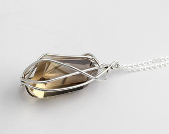 Citrine Pendant Necklace - Big Gemstone Wrapped in Sterling Silver - Quartz Point Pendant Necklace - Crystal Jewelry - Boho Necklace