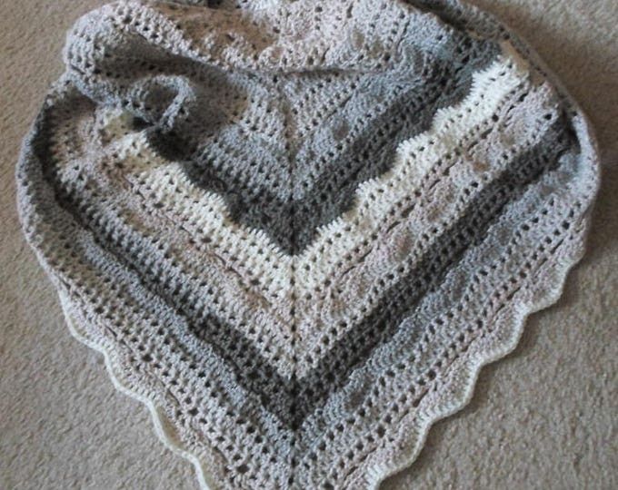 Crochet Triangle Shawl - Large Shawl - Self-Striping Acrylic Yarn
