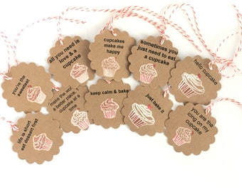 Baking Gift Tags, Cupcake Gift Tags, kitchen Gift Tags