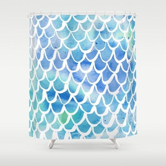 Mermaid Shower Curtain - Blue Shower Curtain - Watercolor Shower Curtain - Shower Curtain - Scallop Shower Curtain - Blue and White