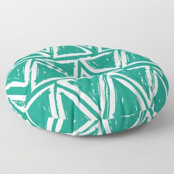 Green floor cushion - Round cushion - Emerald Pillow - Round pillow - Floor pillow - Geometric pillow - 26 inch pillow - 30 inch pillow