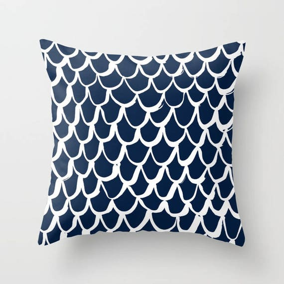 OUTDOOR Throw Pillow . Mermaid Outdoor Pillow . Navy patio cushion . 16 18 20 inch . Mermaid Outside Pillow . Navy Blue Rectangle Pillow